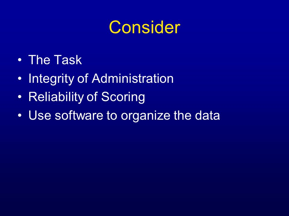 Consider The Task Integrity of Administration Reliability of Scoring