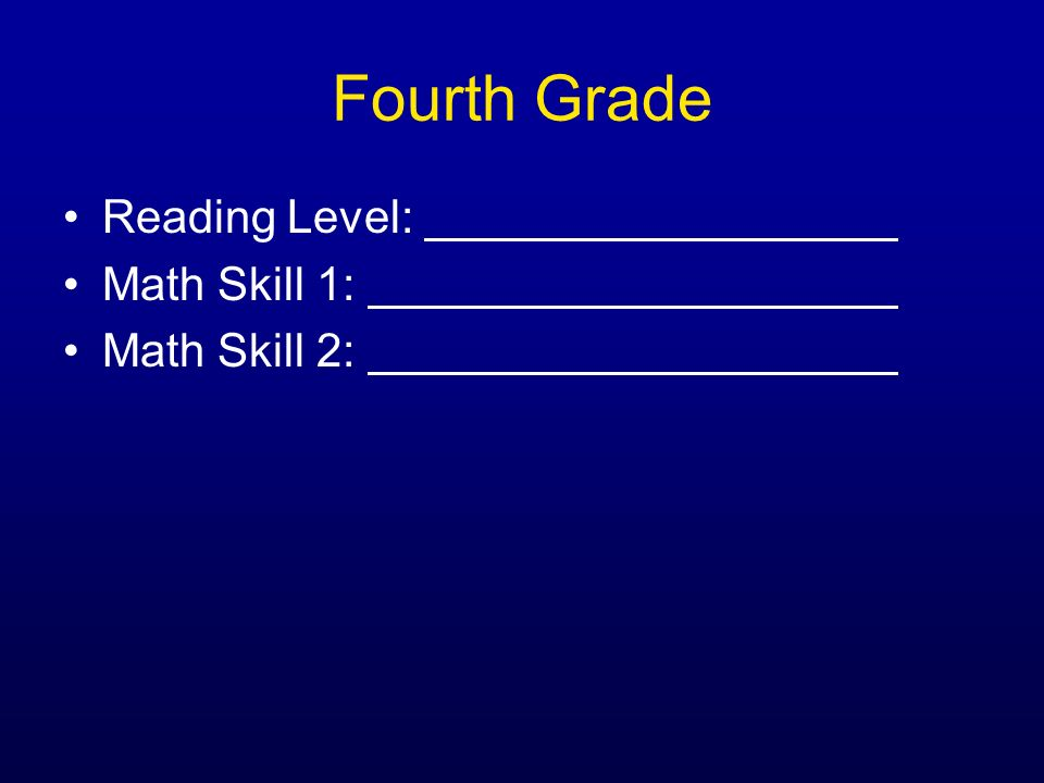 Fourth Grade Reading Level: Math Skill 1: Math Skill 2: