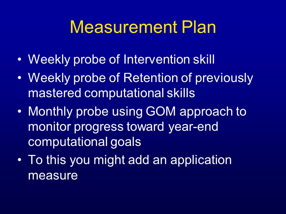 Measurement Plan Weekly probe of Intervention skill