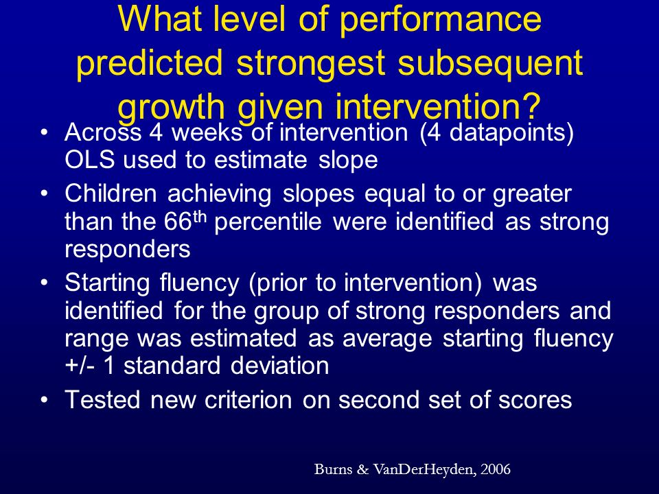 What level of performance predicted strongest subsequent growth given intervention