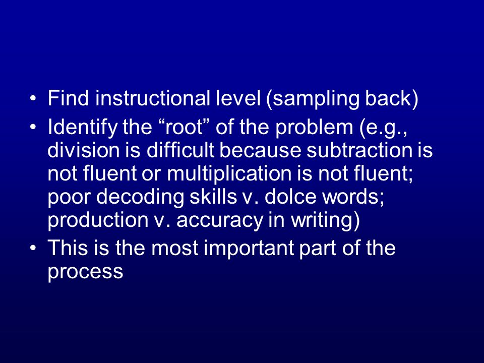Find instructional level (sampling back)