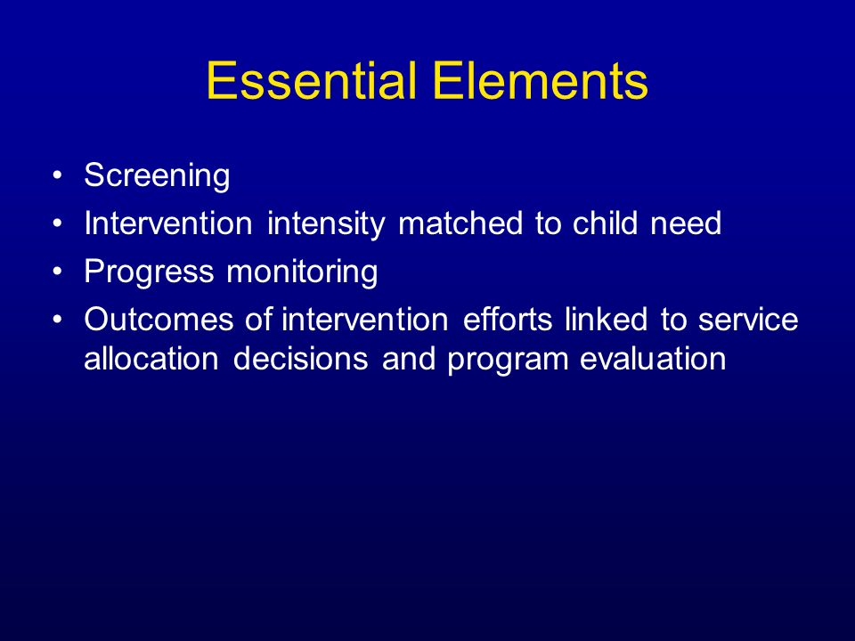 Essential Elements Screening