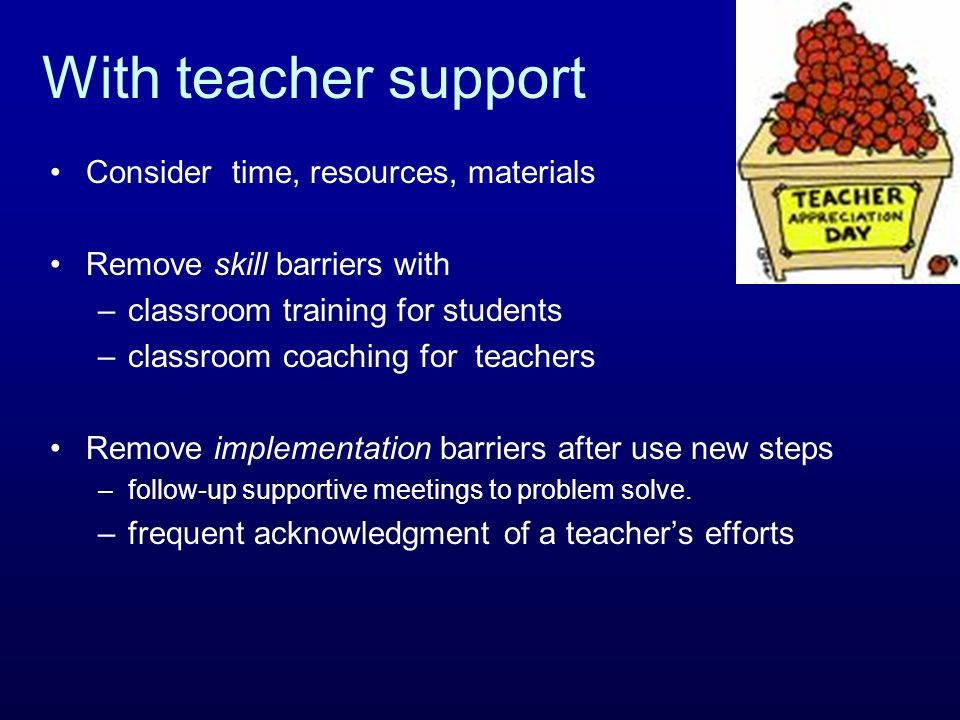 With teacher support Consider time, resources, materials