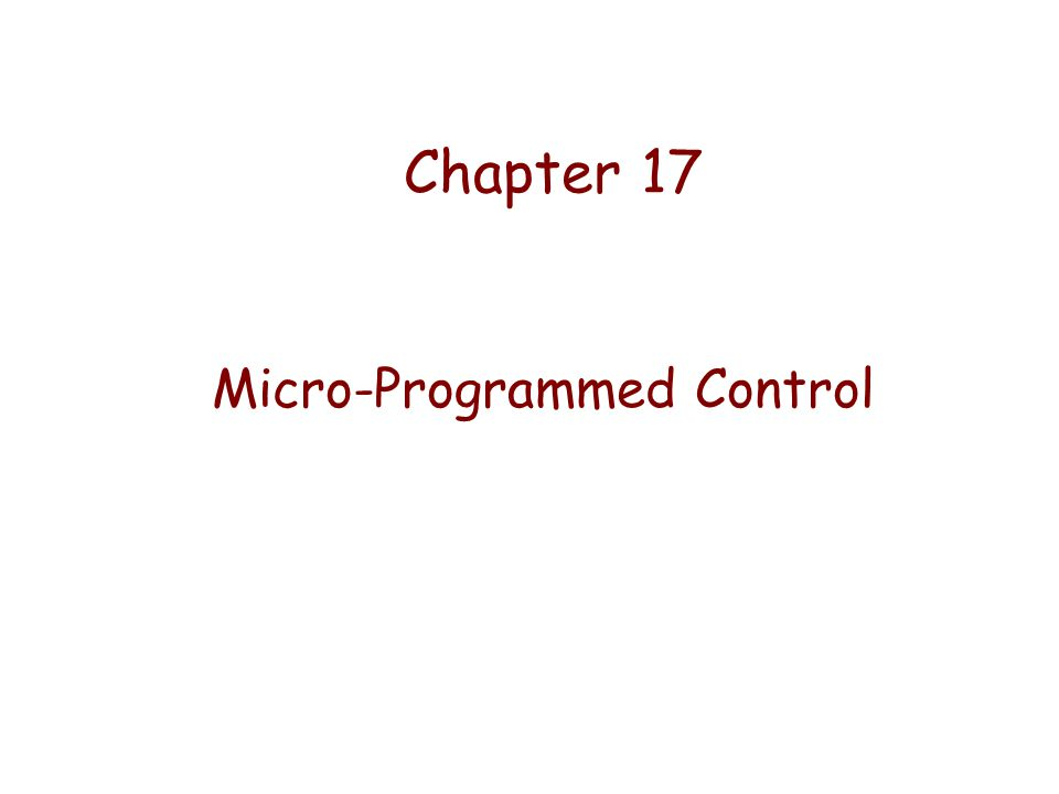 Micro-Programmed Control