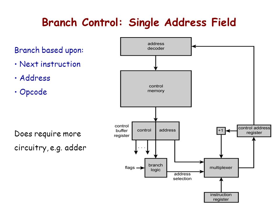 Branch Control: Single Address Field