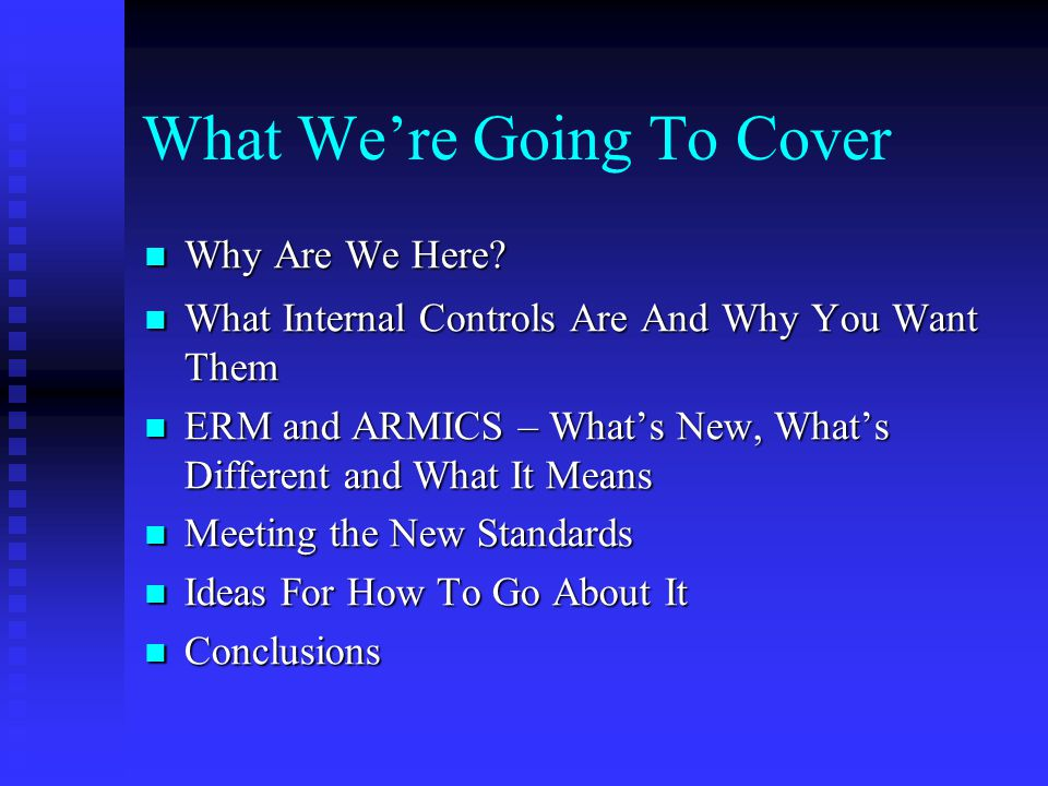 What We're Going To Cover