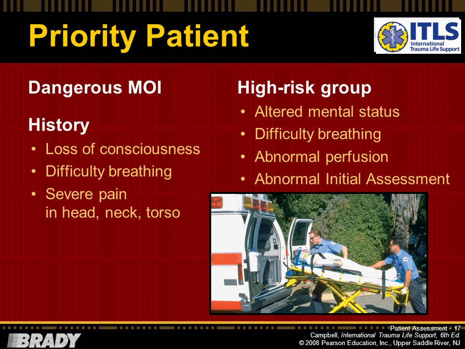 Priority Patient Dangerous MOI History High-risk group