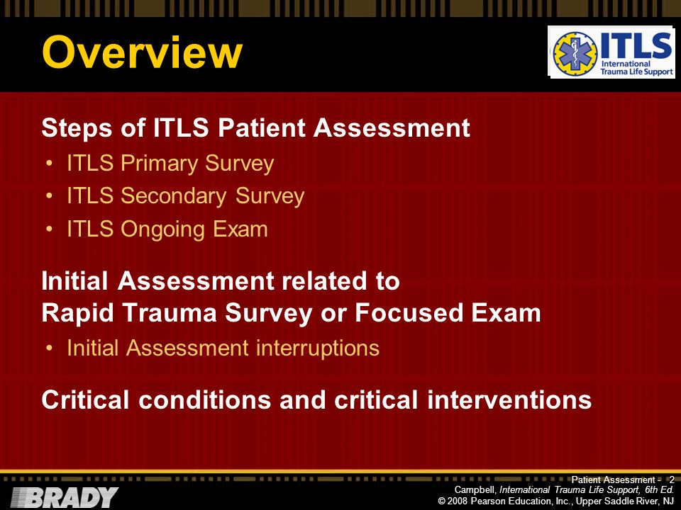 Overview Steps of ITLS Patient Assessment
