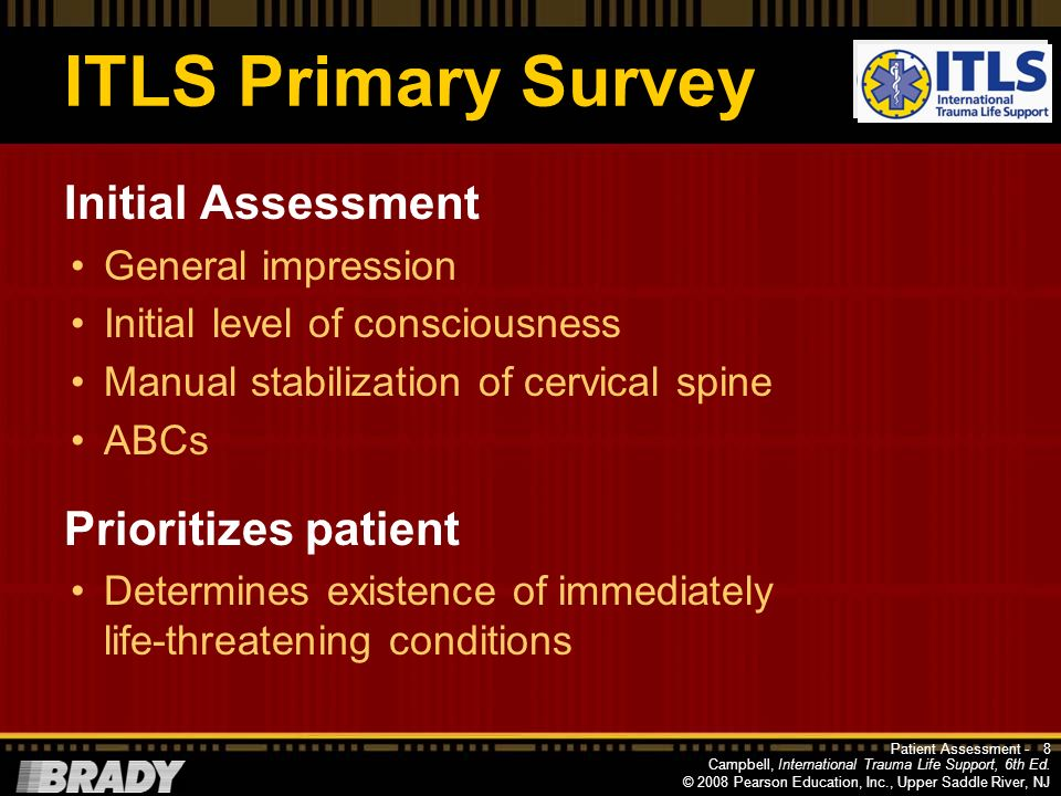 ITLS Primary Survey Initial Assessment Prioritizes patient
