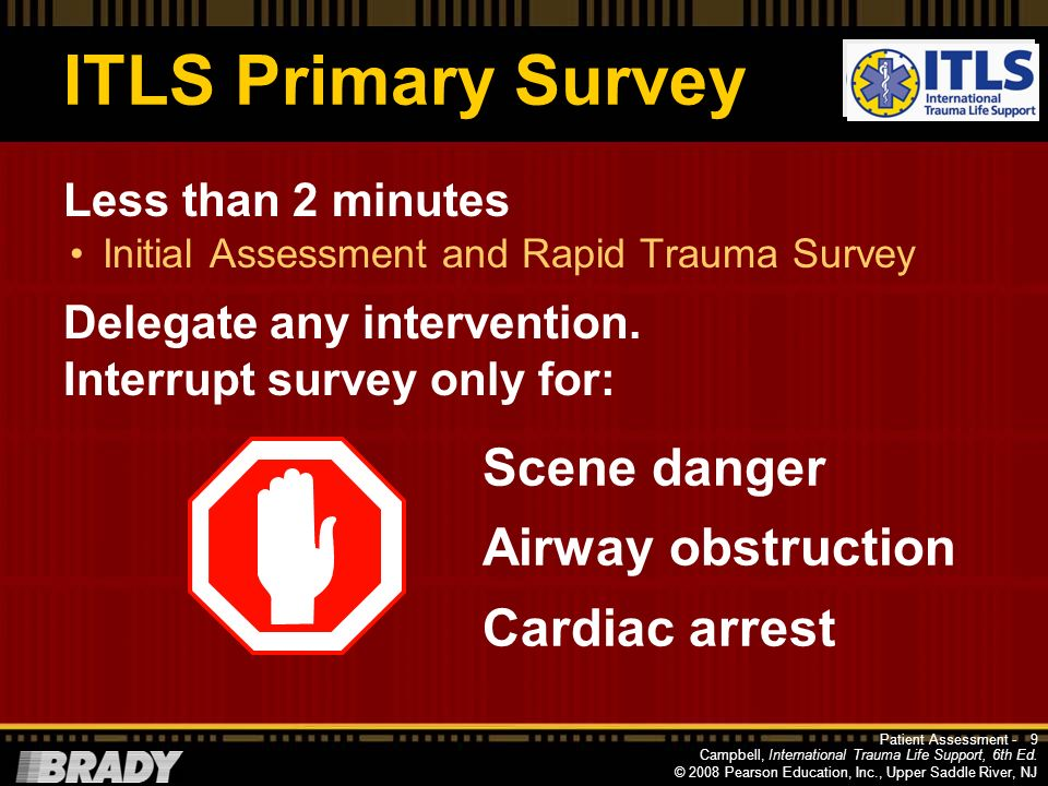 ITLS Primary Survey Scene danger Airway obstruction Cardiac arrest