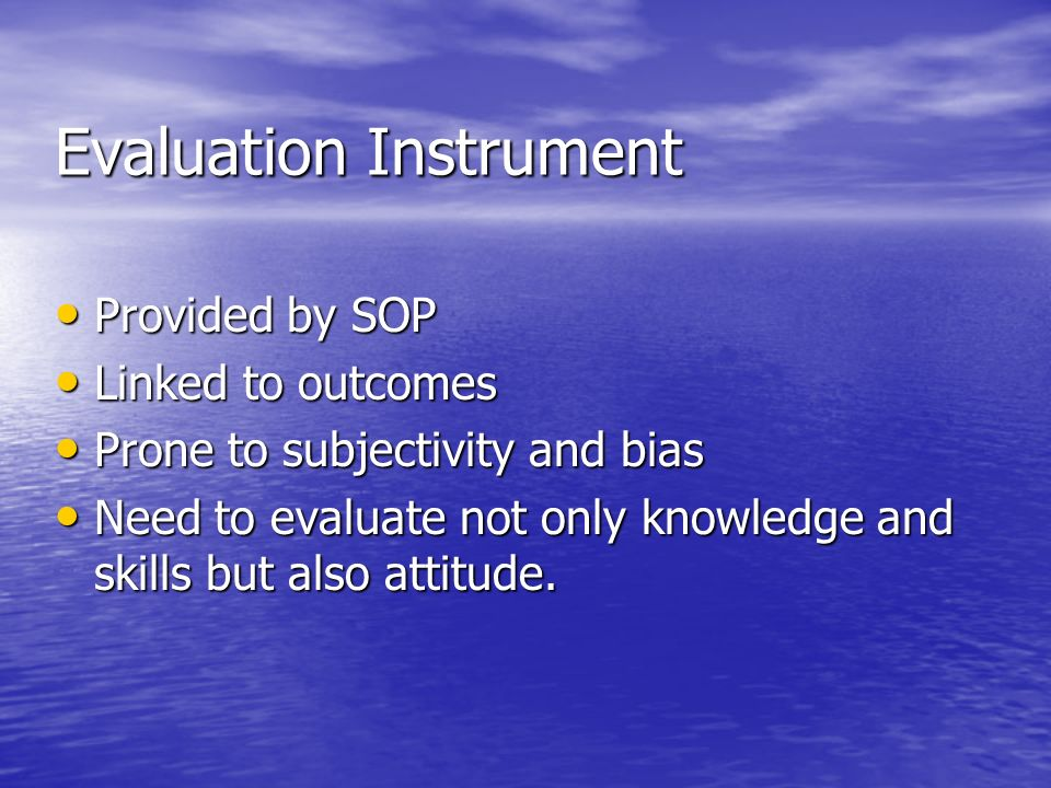 Evaluation Instrument