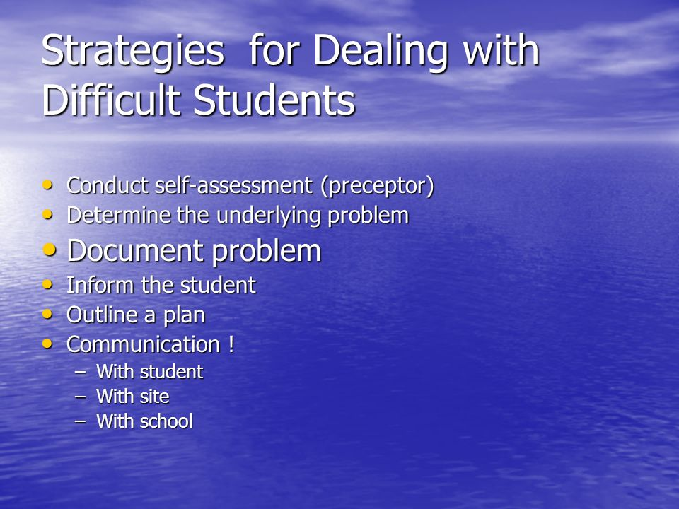 Strategies for Dealing with Difficult Students