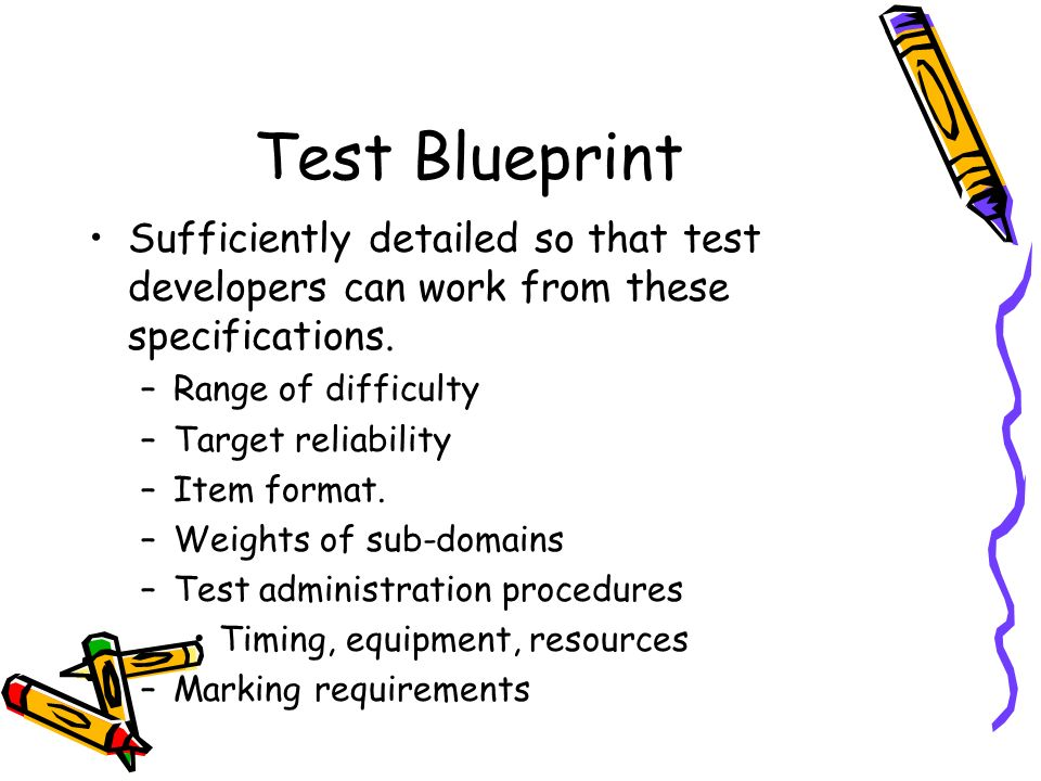 Test Blueprint Sufficiently detailed so that test developers can work from these specifications. Range of difficulty.