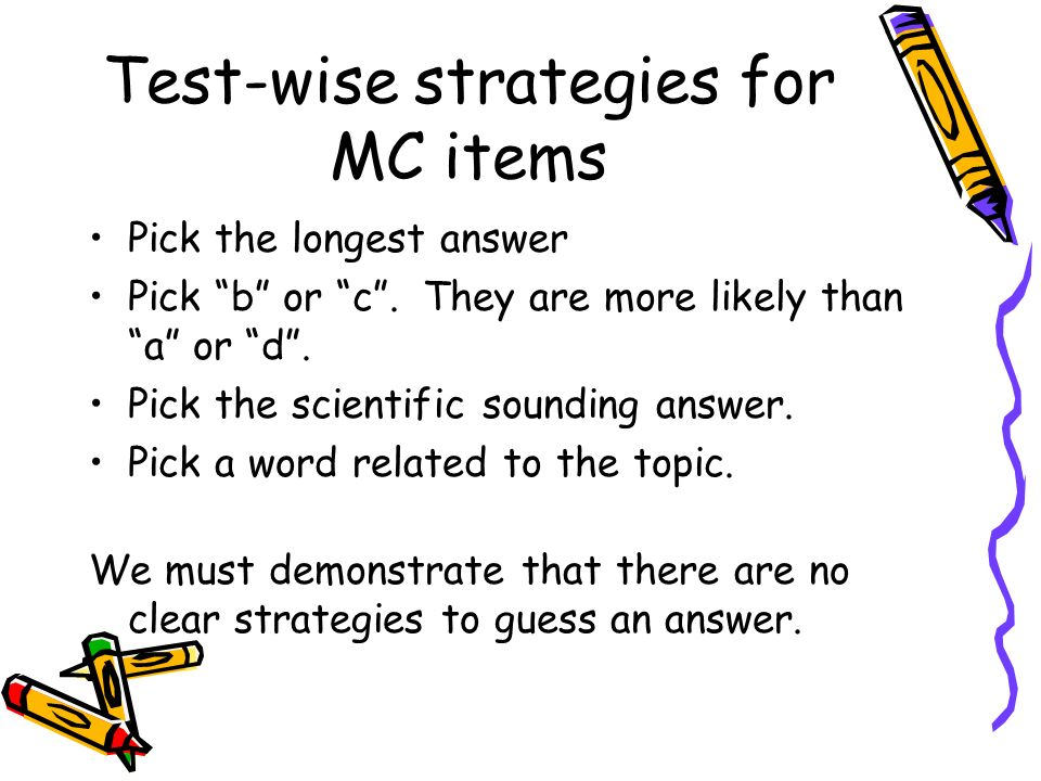 Test-wise strategies for MC items