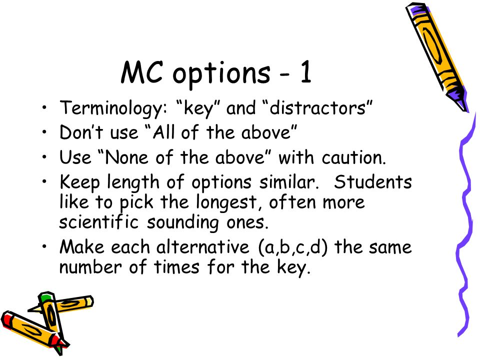 MC options - 1 Terminology: key and distractors