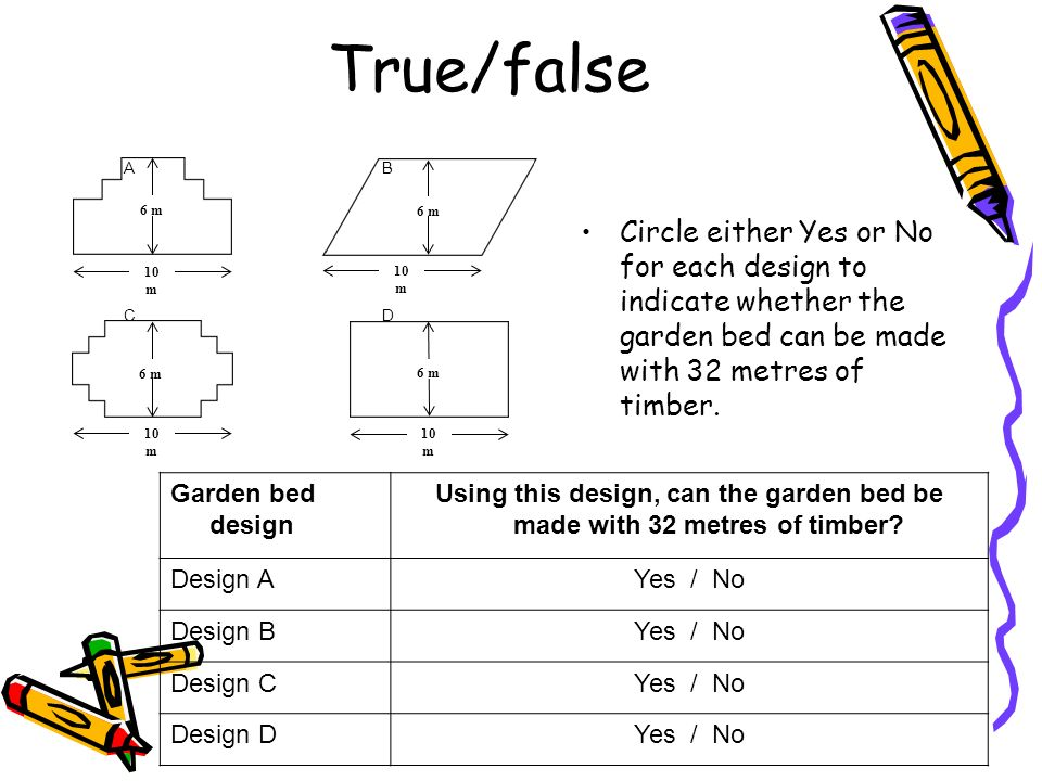 True/false A. B. C. D. 10 m. 6 m.