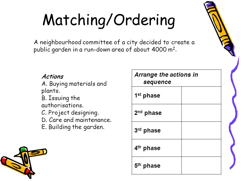 Matching/Ordering Arrange the actions in sequence