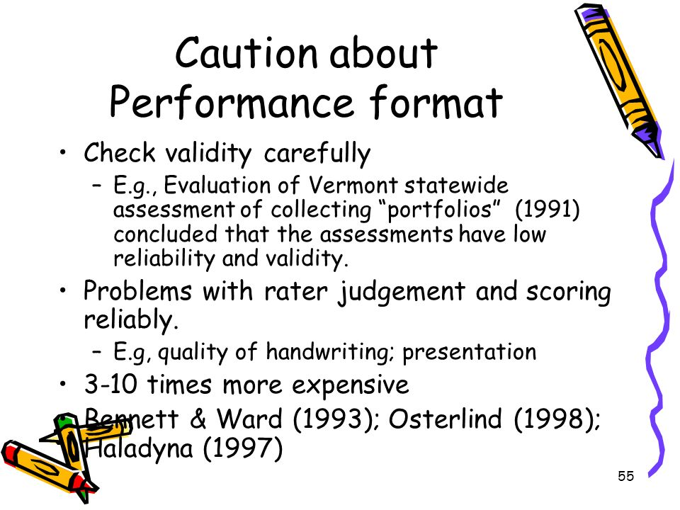 Caution about Performance format
