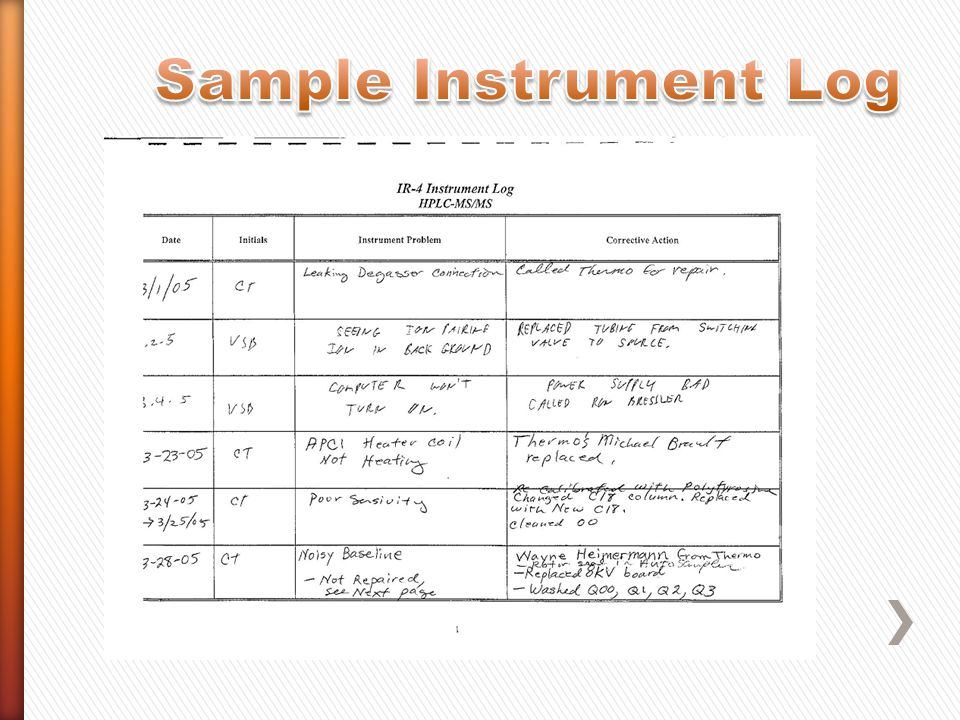 Sample Instrument Log