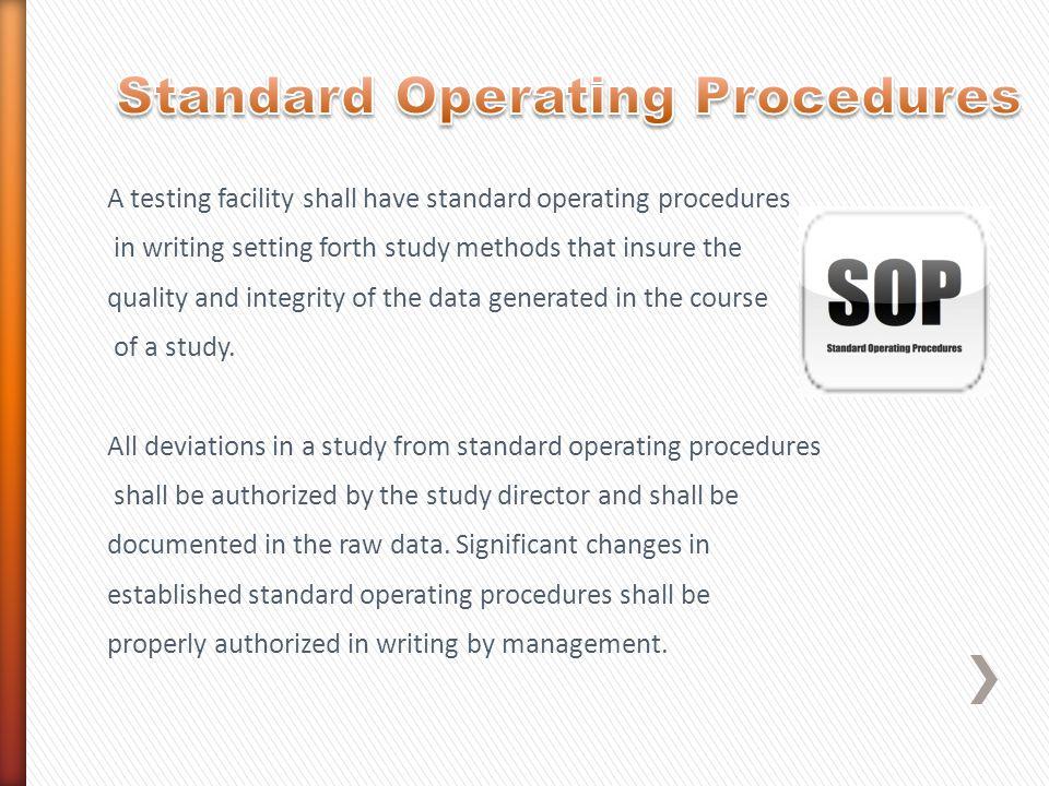 Standard Operating Procedures