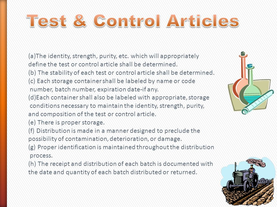 Test & Control Articles
