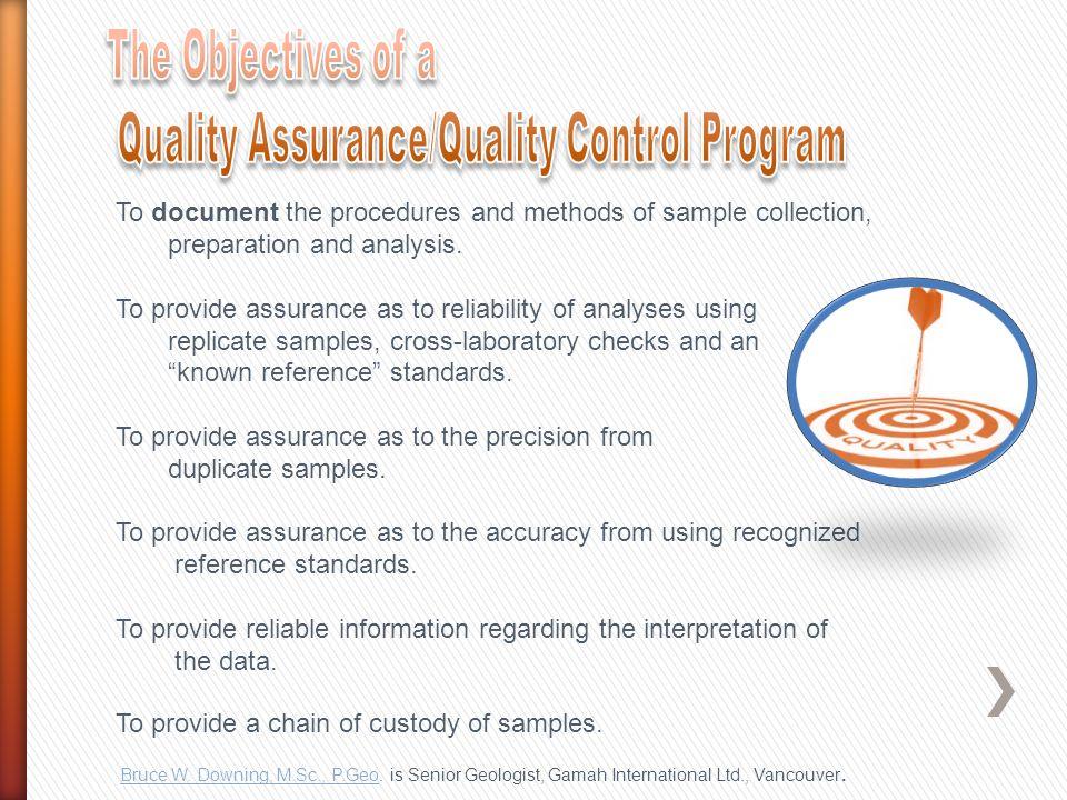 Quality Assurance/Quality Control Program