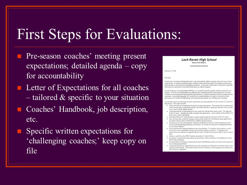 First Steps for Evaluations: