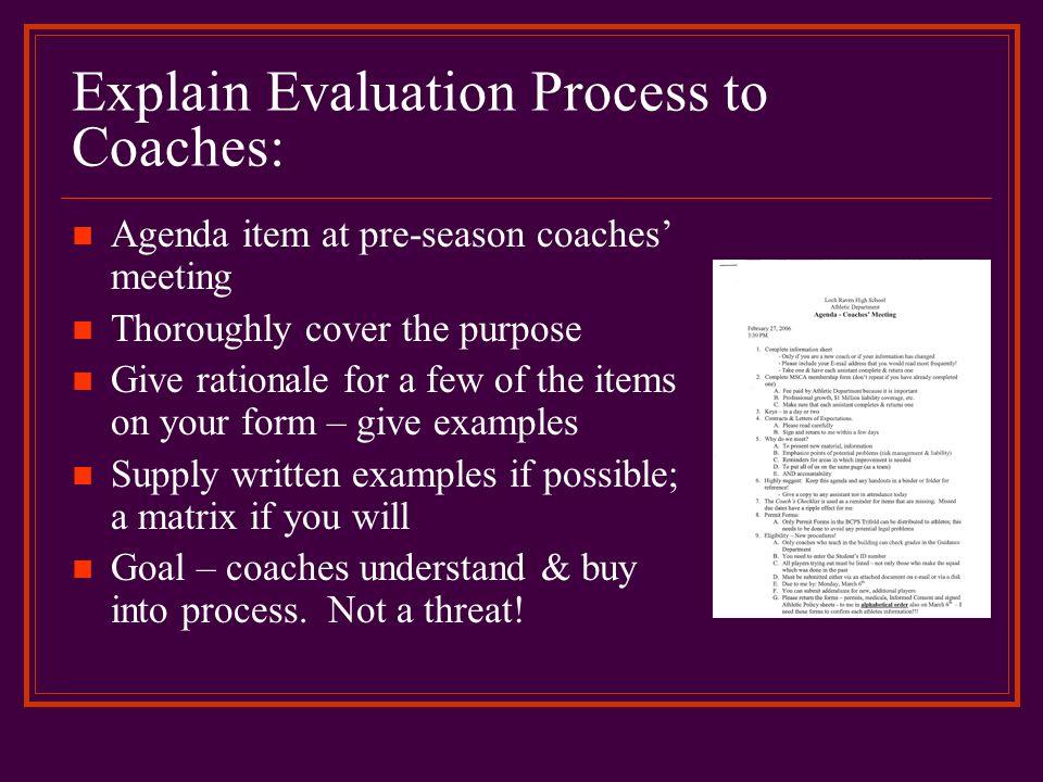 Explain Evaluation Process to Coaches: