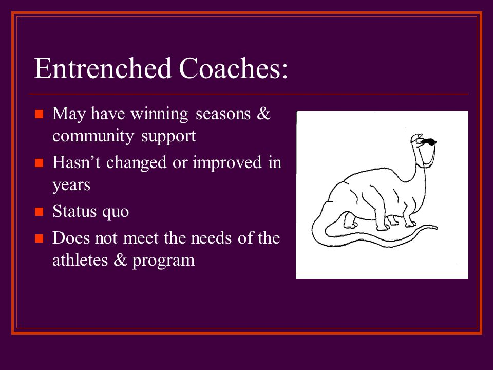 Entrenched Coaches: May have winning seasons & community support