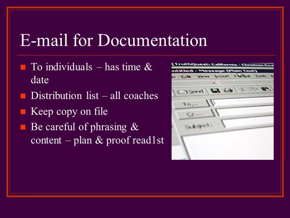 E-mail for Documentation