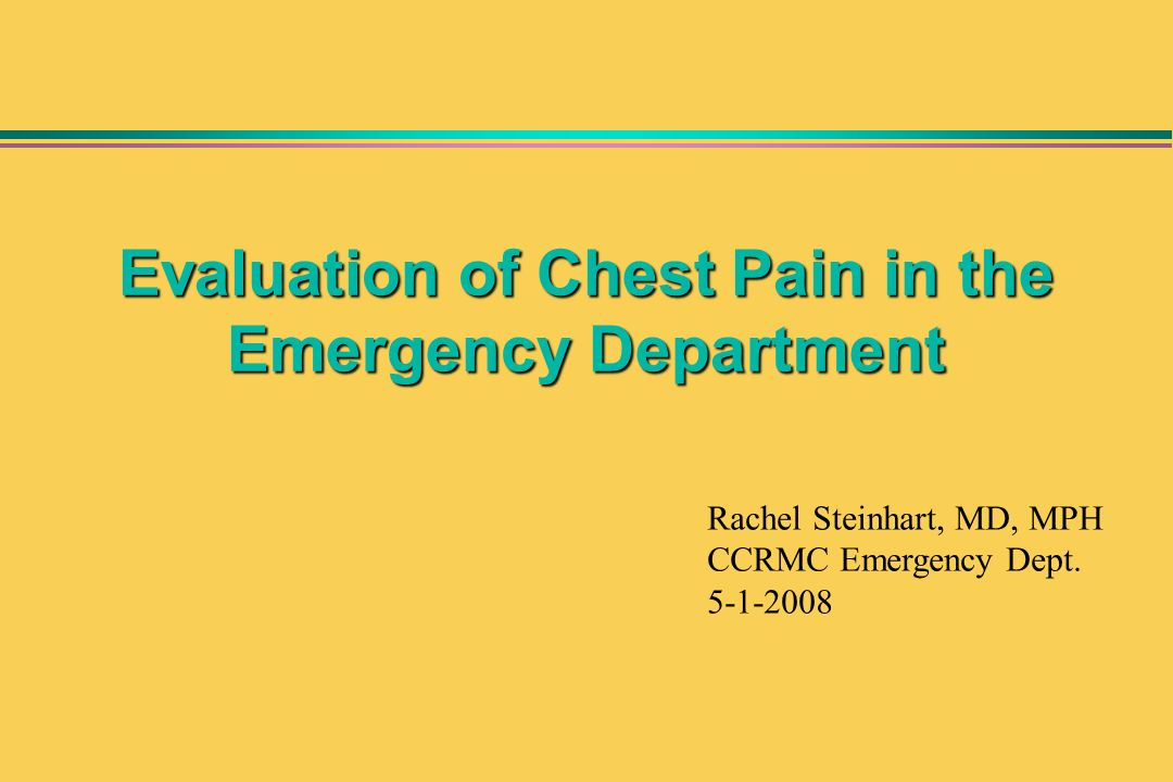Evaluation of Chest Pain in the Emergency Department