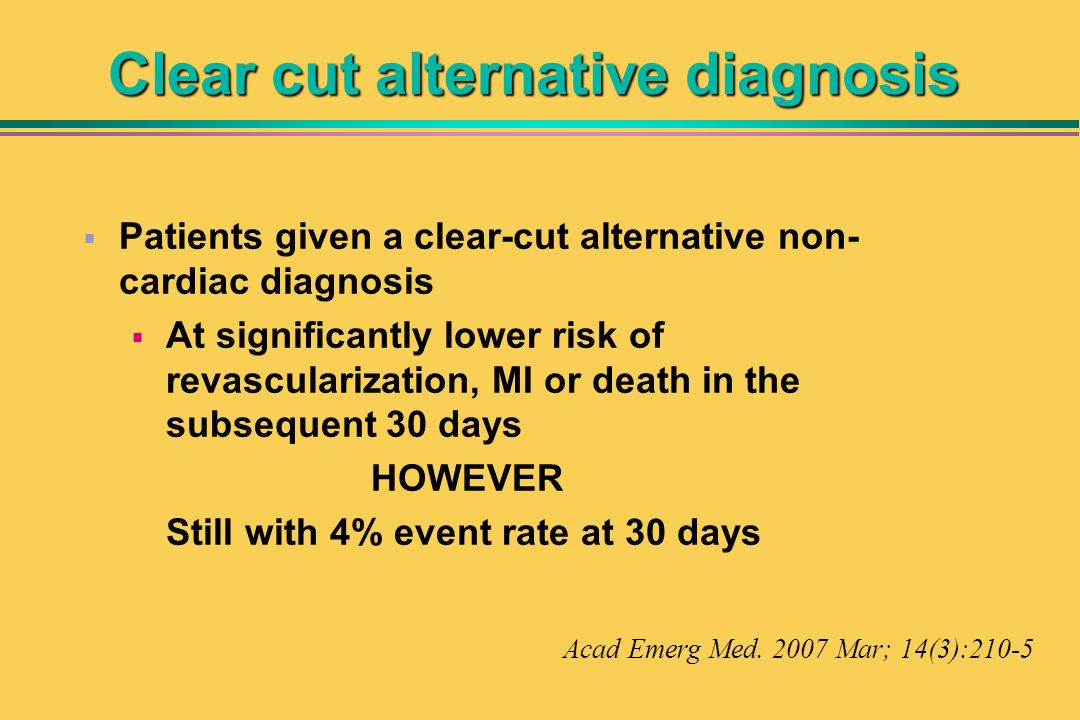 Clear cut alternative diagnosis