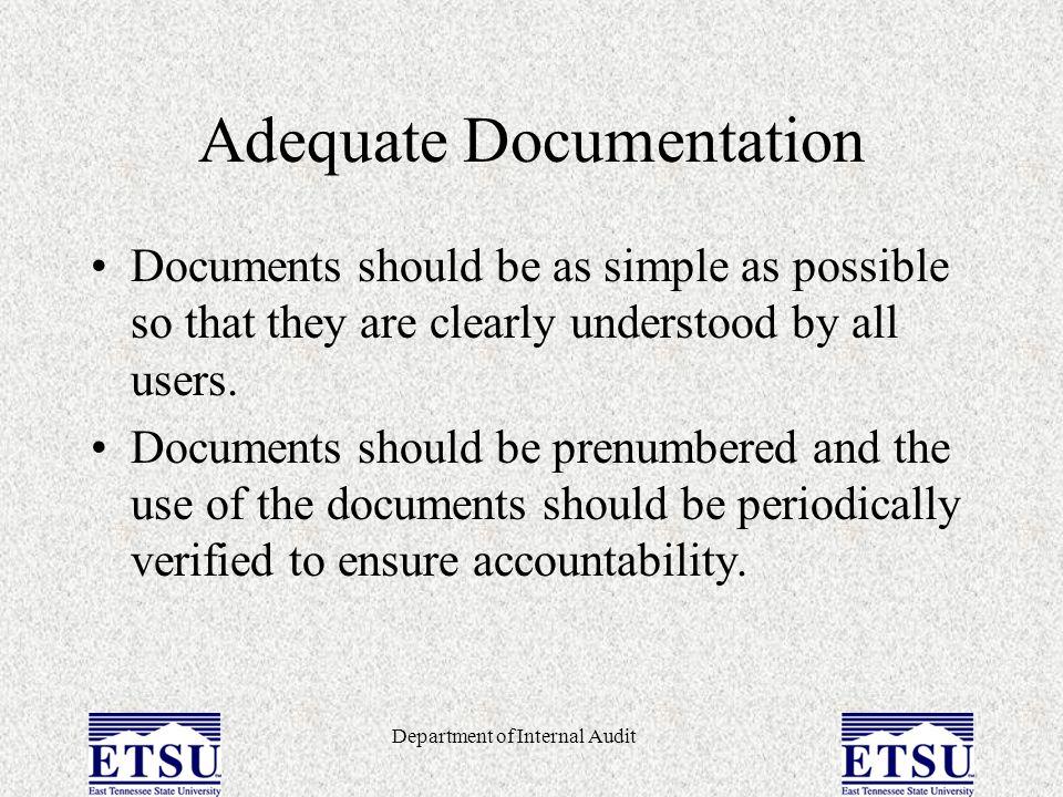 Adequate Documentation