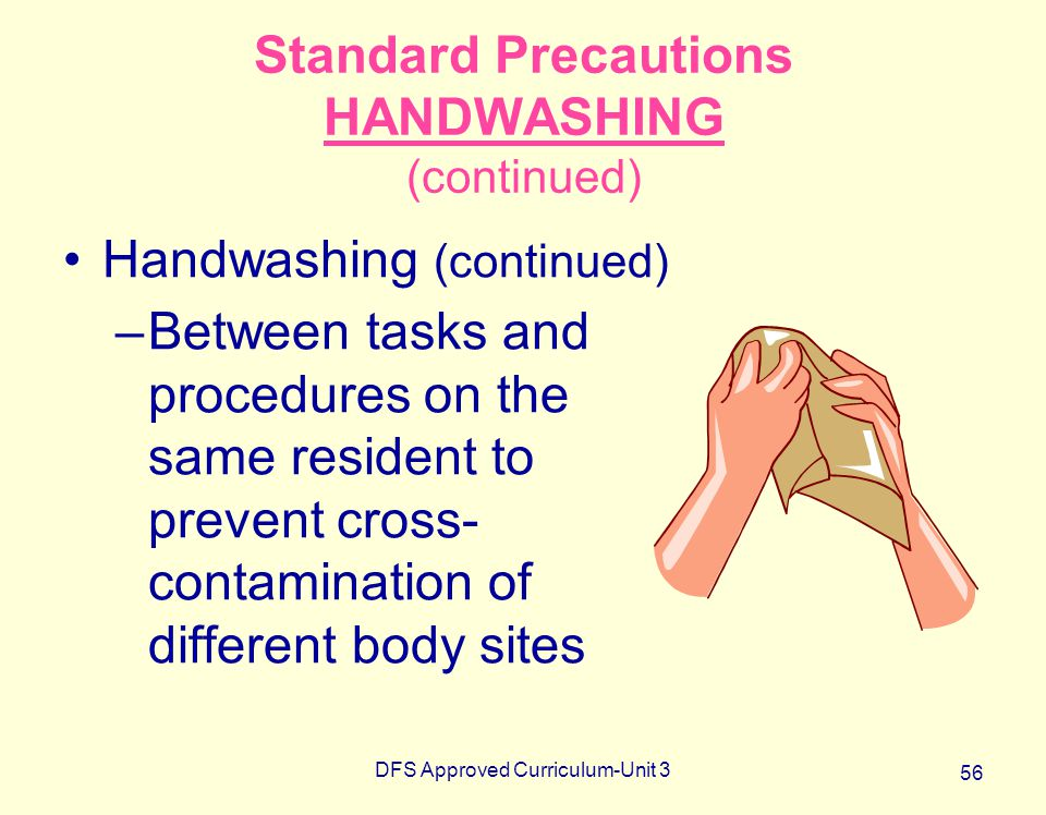 Standard Precautions HANDWASHING (continued)