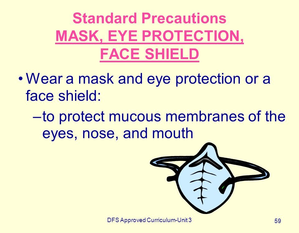 Standard Precautions MASK, EYE PROTECTION, FACE SHIELD