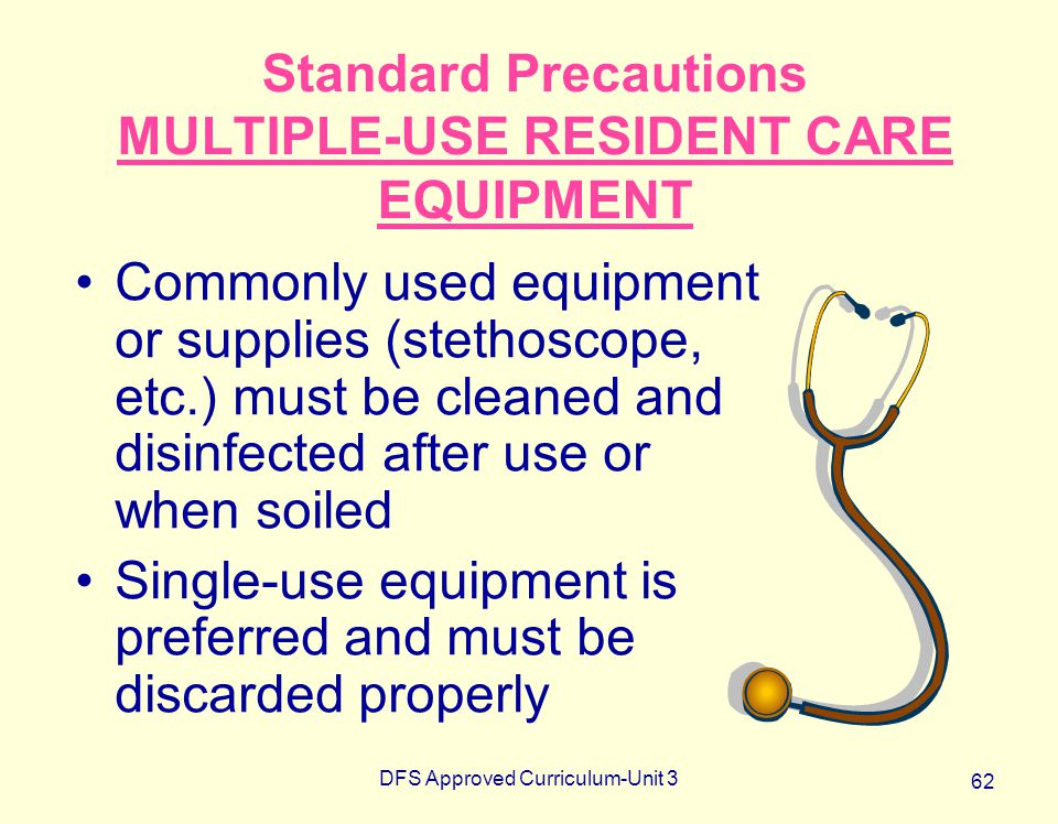 Standard Precautions MULTIPLE-USE RESIDENT CARE EQUIPMENT
