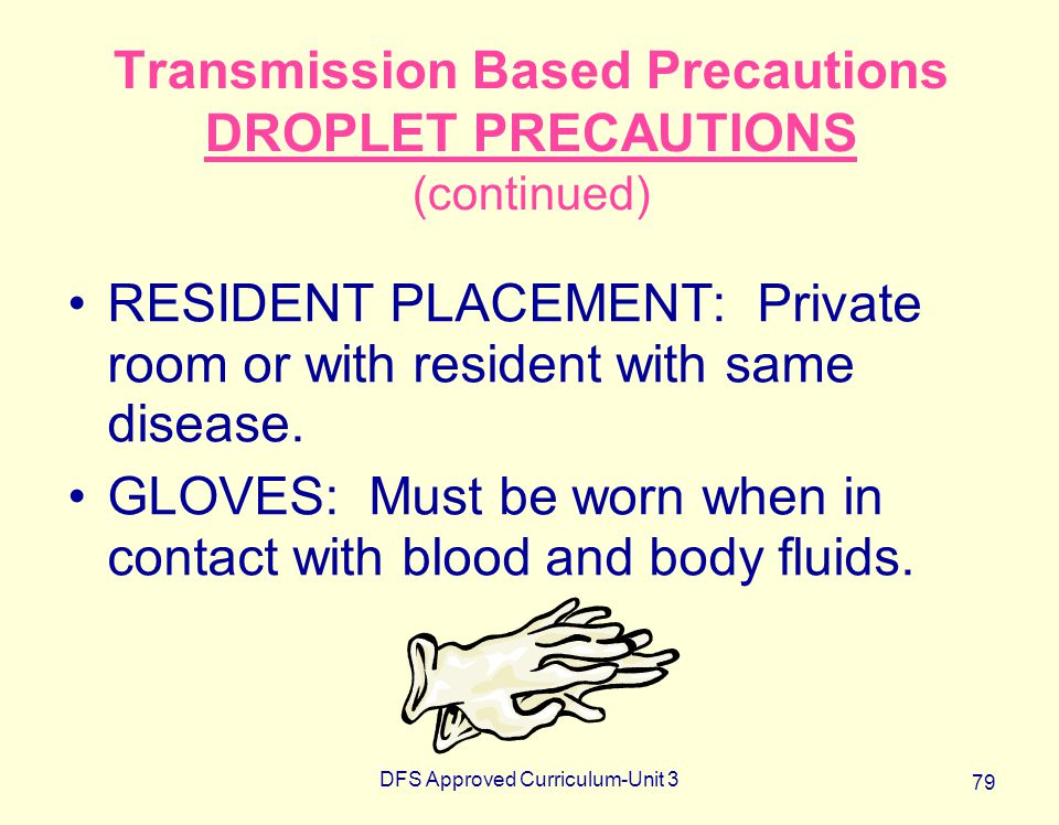 Transmission Based Precautions DROPLET PRECAUTIONS (continued)