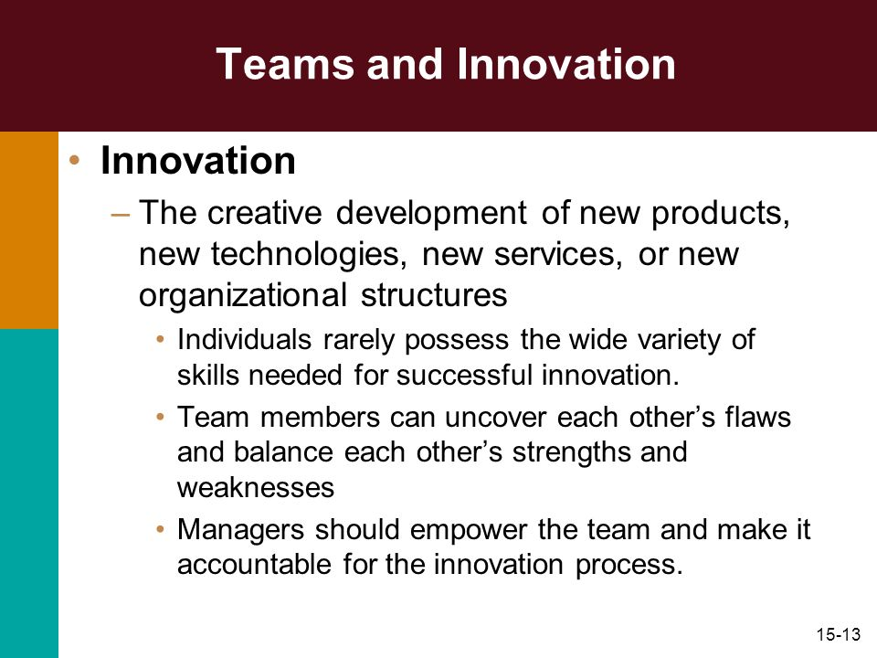 Teams and Innovation Innovation