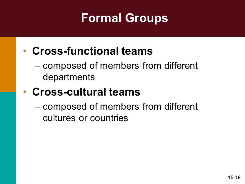 Formal Groups Cross-functional teams Cross-cultural teams