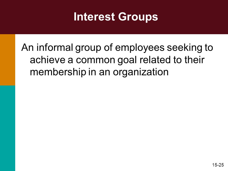 Interest GroupsAn informal group of employees seeking to achieve a common goal related to their membership in an organization.