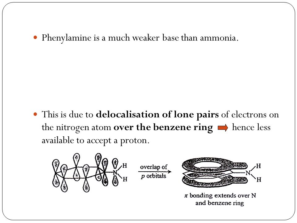 Phenylamine is a much weaker base than ammonia.