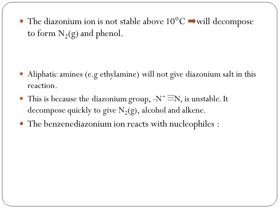 The benzenediazonium ion reacts with nucleophiles :