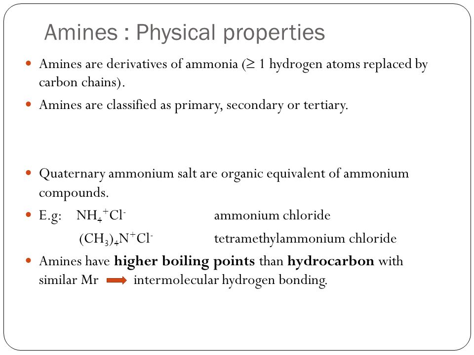 Amines : Physical properties