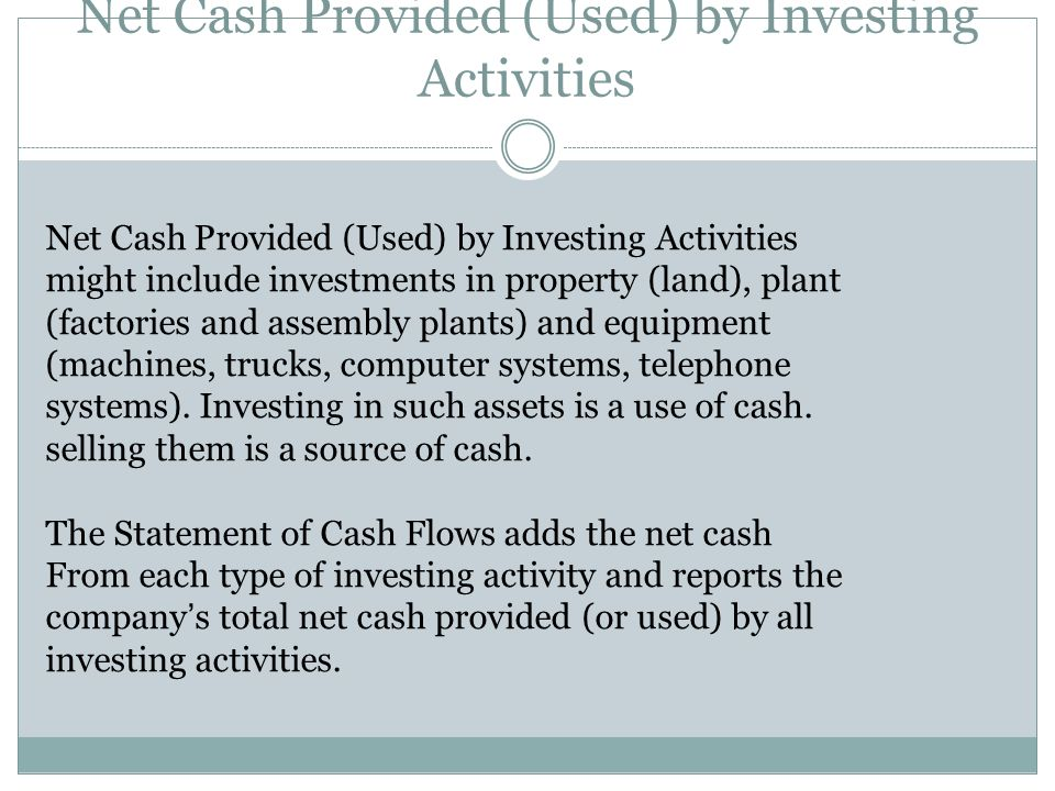 Net Cash Provided (Used) by Investing Activities