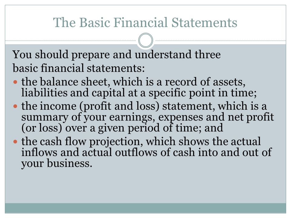 Four basic accounting statements