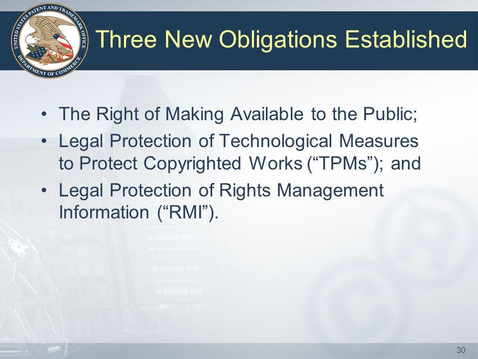 Three New Obligations Established