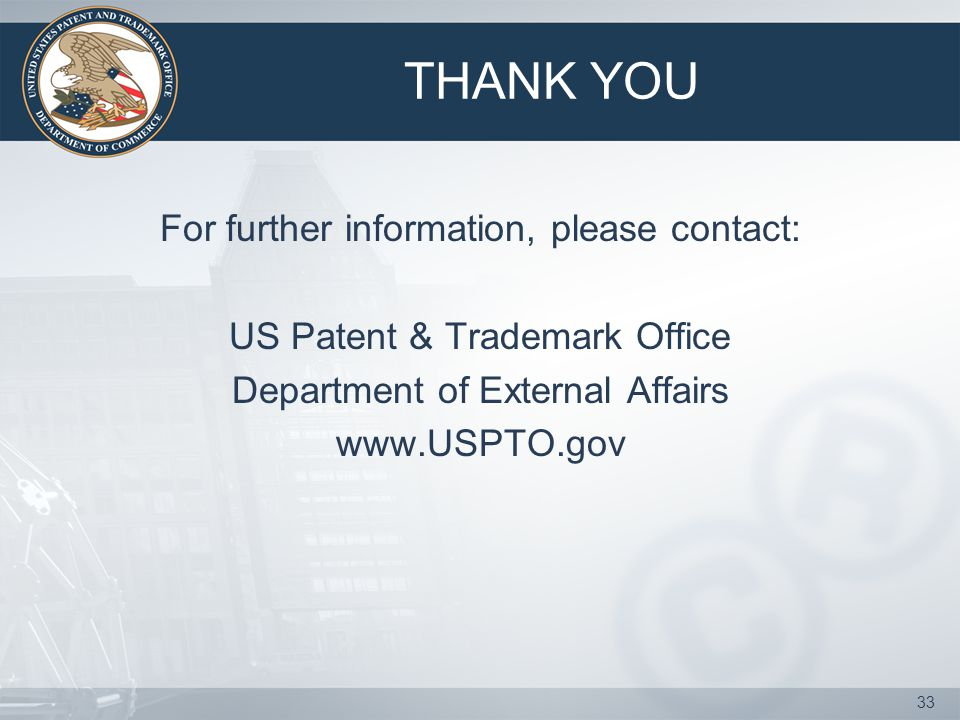 THANK YOU For further information, please contact: