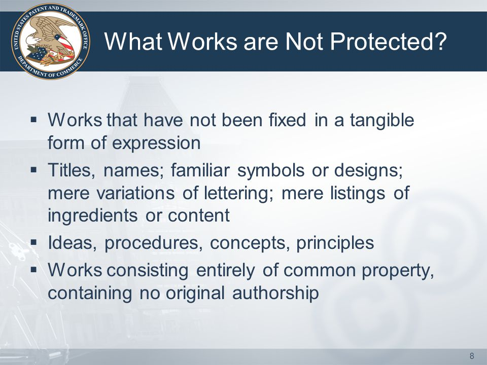 What Works are Not Protected