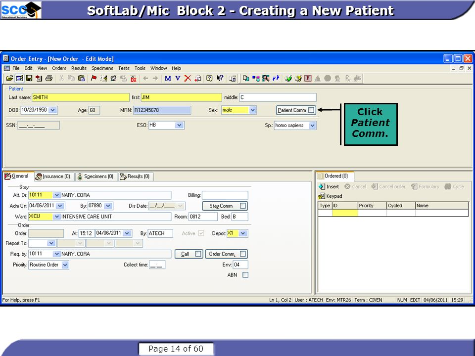 SoftLab/Mic Block 2 - Creating a New Patient