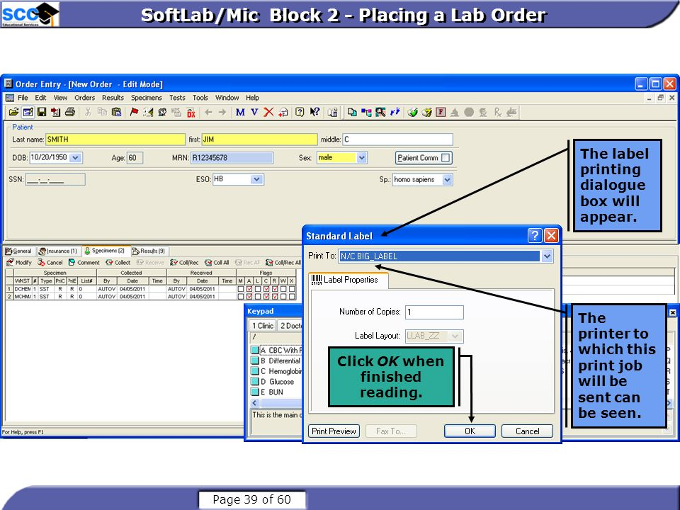 SoftLab/Mic Block 2 - Placing a Lab Order